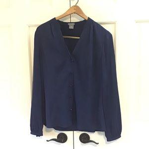 Ann Taylor Blue Silk Blouse 10